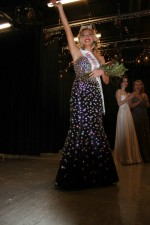 Erika Burghardt waves to friends and family after being crowned Miss Indiana University 2014 at Willkie Auditorium Feb. 23